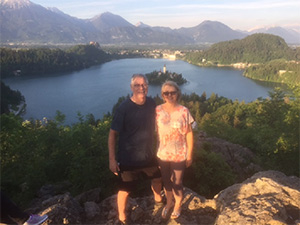 Caroline and I with Lake Bled in the background.
