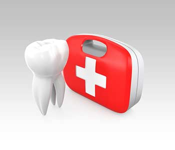 3D teeth and first aid kit, for oral hygiene concept